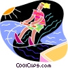 chalkboard style, water skiing Vector Clipart illustration