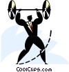 Businessman lifting weights Vector Clipart graphic