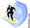 Vector Clipart image  of a Businessman surfing with