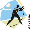 Vector Clipart graphic  of a Baseball player at bat