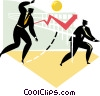Vector Clip Art graphic  of a Businessmen playing volleyball
