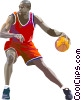 Vector Clip Art image  of a Basketball player dribbling
