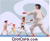 Vector Clipart picture  of a Karate instruction