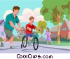 Father teaching son how to ride a bike Vector Clipart image