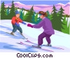 Parent teaching child how to ski Vector Clip Art picture