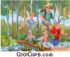 Family on hiking trip Vector Clipart graphic