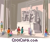 Vector Clip Art graphic  of a Statue of Lincoln