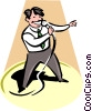 Vector Clip Art graphic  of a Karaoke Singer