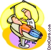 Vector Clipart graphic  of a Dentist working on patient