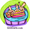 Kids playing in pool with raft Vector Clipart illustration