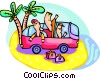 Vector Clip Art image  of a Family on road trip