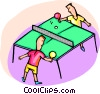 Kids playing ping pong Vector Clipart image