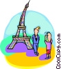 Tourists near Eiffel tower Vector Clip Art picture
