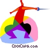 Vector Clip Art graphic  of a Fencing