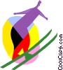 Vector Clip Art graphic  of a Skiing