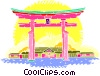 Japan, Temple gate Vector Clip Art image