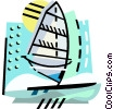 Vector Clip Art image  of a Windsurfing