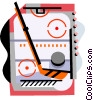 Hockey rink with stick and puck Vector Clipart picture