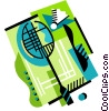 Badminton birdie and racket Vector Clipart graphic