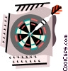 Darts in dartboard Vector Clipart illustration