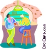 Vector Clipart graphic  of a Conversation at a bar