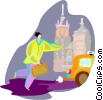 Person running for cab Vector Clipart illustration