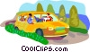 Vector Clipart image  of a Family on road trip