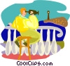 Vector Clip Art graphic  of a Tourist with camcorder