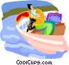 Vector Clip Art graphic  of a Tourist on a boat ride