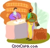 Vector Clip Art image  of a Tourist checking into hotel