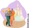 Vector Clipart picture  of a Tourists in Russia