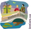 Vector Clip Art graphic  of a Romantic couple on bridge at