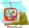 Vector Clip Art graphic  of a Tourists in Chair lift