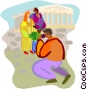 Vector Clipart graphic  of a Tourists in Greece near the