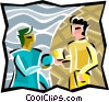 Two people exchanging ideas Vector Clipart illustration