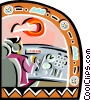 Pilot in cockpit Vector Clipart illustration
