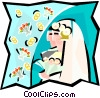 Vector Clip Art image  of a Couple getting married