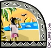 Vector Clip Art image  of a Tourist looking at sunset