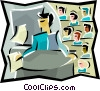 Vector Clipart picture  of a Public speaker with audience