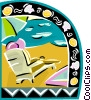 Lounging on the beach Vector Clipart picture