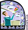 Vector Clipart graphic  of a Weather person