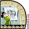 Vector Clip Art image  of a Woman using drafting board