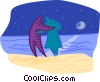 Vector Clipart graphic  of a romantic couple on a beach at