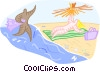 Vector Clip Art image  of a Lounging on the beach