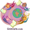 Vector Clipart picture  of a Reading around the world