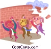 Holding up a brick wall Vector Clip Art graphic