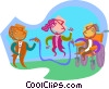 Vector Clip Art image  of a Kids playing jump rope