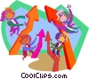 Vector Clip Art graphic  of a Business people getting ahead