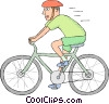 Vector Clipart graphic  of a Man riding a bicycle