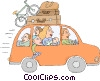 Vector Clip Art graphic  of a Family on road trip